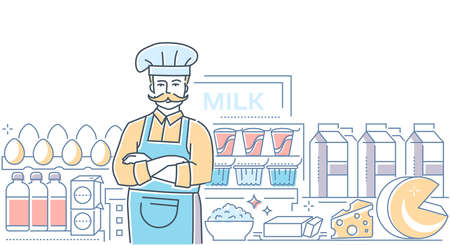 Dairy products - colorful line design style illustration on white background. High quality composition with a dairyman, seller, images of cheese, butter, cartons of milk. Organic food, farming concept