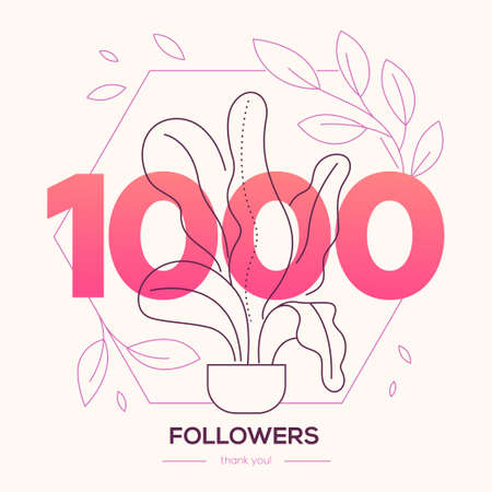 1000 followers banner - modern flat design style illustration Иллюстрация