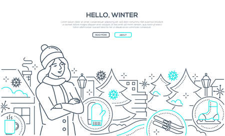 Hello, winter - modern line design style web banner on white background with copy space for text. A young woman in warm clothes, images of pine trees, skates, skis, mittens, city buildings silhouettes