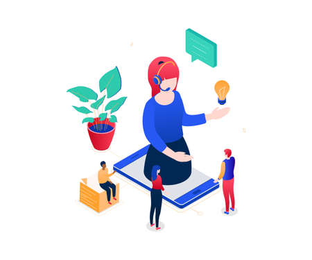 Technical support - modern colorful isometric vector illustration on white background. A composition with a female call center operator in headset on smartphone screen, colleagues, image of lightbulb