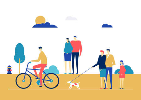 City life - flat design style colorful illustration. High quality composition with cute characters. A boy cycling, family walking the dog, pregnant woman with her husband. Recreation, active lifestyle