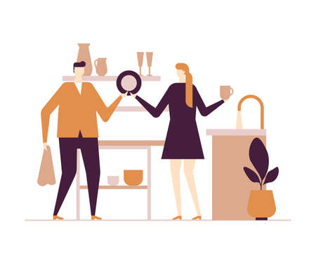 Couple washing dishes - flat design style colorful illustration on white background. Composition with characters, wife, husband in the kitchen. Woman giving man plate to dry. Household chores concept Standard-Bild - 125906621