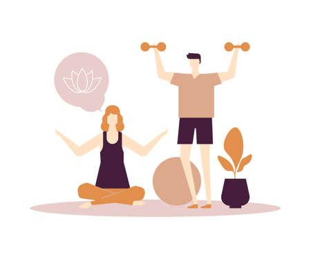 Fitness en casa - ilustración colorida de estilo de diseño plano sobre fondo blanco. Personajes, esposa, esposo haciendo ejercicios en casa. Un hombre levantando pesas, mujer practicando yoga, sentada en posición de loto Ilustración de vector