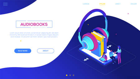 Listening to audiobooks - modern colorful isometric vector web banner