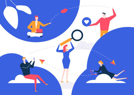 Dating app - flat design style colorful illustration. Conceptual composition with male, female characters, boys and girls chatting online, using mobile applications to find romantic relationships