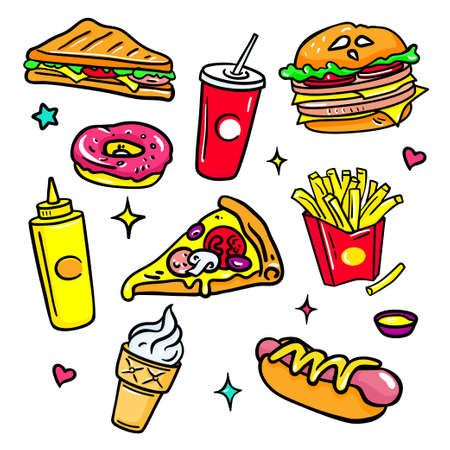 Fast food - colorful vector isolated stickers set on white background in trendy style. Bright images of soda, pizza, French fries, hot dog, hamburger, donut, pizza, sandwich. Perfect for mobile apps