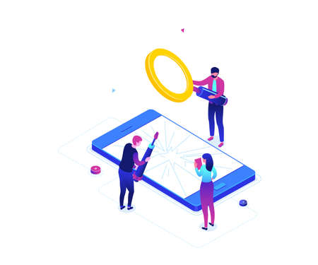 Mobile repair service - modern colorful isometric vector illustration on white background. A composition with male, female workers fixing a smartphone with broken screen, magnifying glass, screwdriver