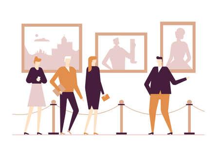 Vie culturelle - illustration colorée de style design plat