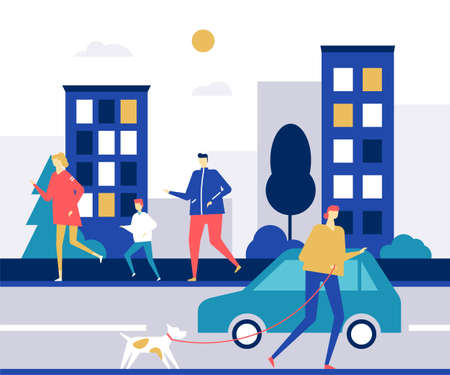 People running - flat design style colorful illustration. High quality composition with male, female characters, active boys and girls jogging on the road in the city. Healthy lifestyle concept