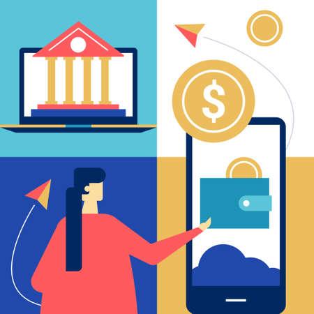 Online banking - flat design style colorful illustration