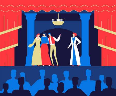 Au théâtre - illustration colorée de style design plat Vecteurs