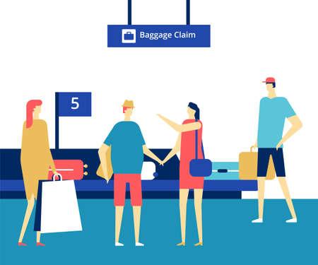 Gepäckausgabe am Flughafen - farbenfrohe Illustration im flachen Design-Stil