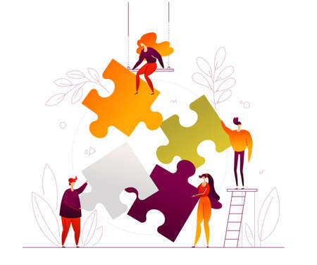 Teambuilding - modern flat design style colorful illustration on white background. High quality composition with cute characters, office workers, colleagues, creative business people doing a puzzle