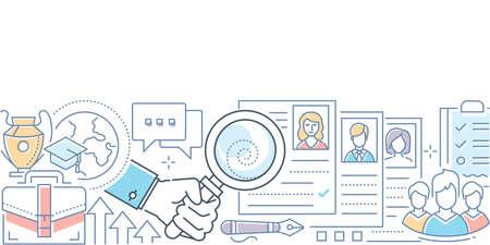 Recruitment - modern line design style vector illustration on white background. Colorful composition with a hand holding a magnifying glass, looking at CVs of the applicants, searching best candidate