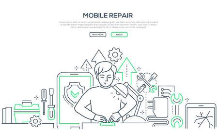 Servicio de reparación móvil - banner de estilo de diseño de línea moderna Ilustración de vector