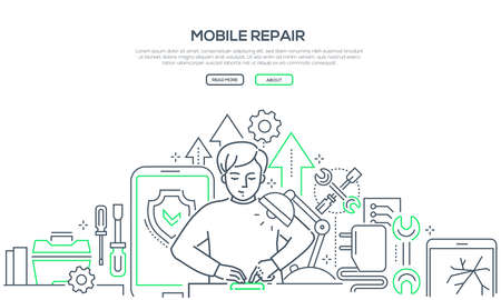 Mobile repair service - modern line design style banner