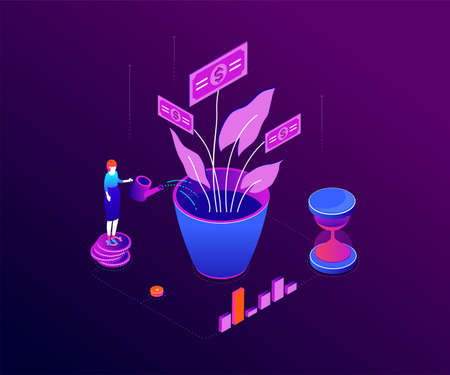 Investment concept - modern colorful isometric vector illustration on purple background. A composition with businesswoman standing on coins stack, watering money tree, images of diagrams and hourglass Ilustração