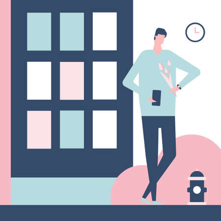 Dating app - flat design style colorful illustration. High quality composition with a man waiting for the girl with flowers, checking his smartphone, looking at the watch. Blind date concept  イラスト・ベクター素材