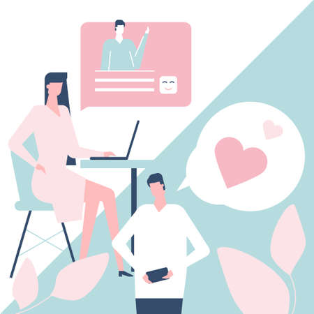 Dating app - flat design style colorful illustration. Pink, blue color palette. Composition with characters, boy and girl chatting online using smartphone, laptop, mobile application, sending messages