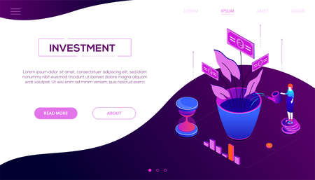 Investment concept - modern colorful isometric vector web banner on purple background with copy space for text. Header with a woman standing on coins stack, watering money tree, diagrams and hourglass Ilustração