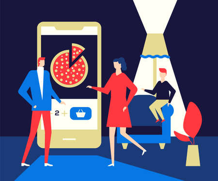 Online food ordering - flat design style colorful illustration. High quality unusual composition with a family, parents and a child using mobile app on smartphone to choose Italian pizza Illustration