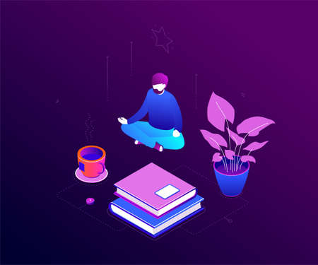 Meditation at work - modern colorful isometric vector illustration on purple background. Quality composition with a man sitting in lotus position, trying to relief stress at work. Mindfulness concept Illustration