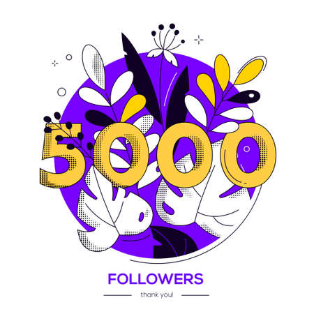 5000 followers banner - modern flat design style illustration with a floral composition and number in round shape on white background. Flowers, herbal elements. Perfect way to thank your subscribers