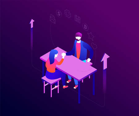 Business competition - modern colorful isometric vector illustration on white background. An image of a businesswoman competing in arm wrestling with a businessman at the table. Leadership concept Foto de archivo - 125772791