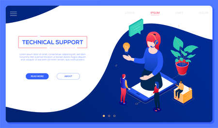 Technical support - modern isometric vector web banner on blue background with copy space for text. Header with a female call center operator in headset on smartphone screen, colleagues, lightbulb