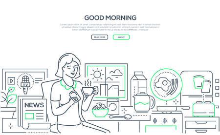 Good morning - modern line design style web banner