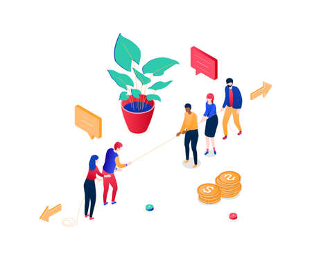 Business competition - modern colorful isometric vector illustration on white background. Quality composition with two teams, rivals pulling the rope, tug of war, images of a plant, coins stacks Illustration