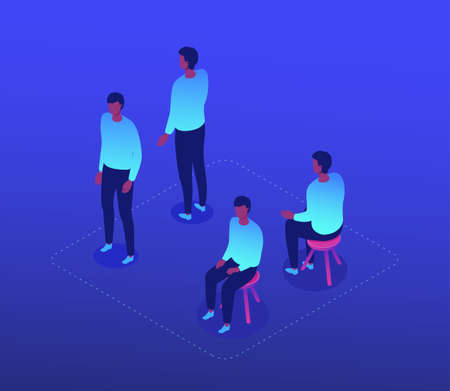 Man in casual clothes - modern isometric character set isolated on blue background. High quality collection with a male employee in different positions, sitting on a stool, standing front and back