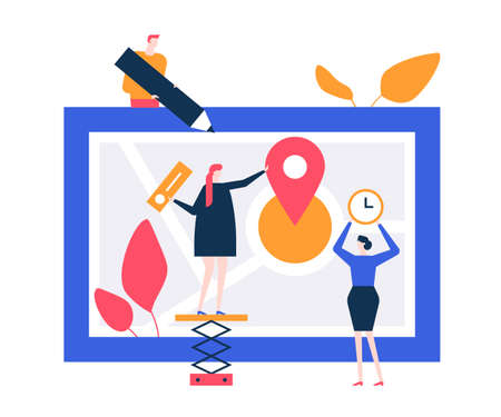 Office location - flat design style colorful illustration on white background. Quality composition with characters, business man, women placing a pointer on a map, showing information about a company