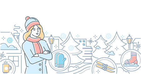 Hello, winter - modern line design style illustration on white background. A colorful composition young woman in warm clothes, images of pine trees, skates, skis, mittens, city buildings silhouettes Illustration