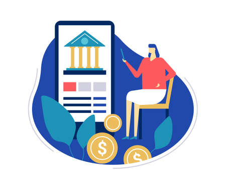 Mobile banking - flat design style colorful illustration on white background. Unusual composition with a woman using a smartphone, mobile app to make online financial operations, images of coins  イラスト・ベクター素材