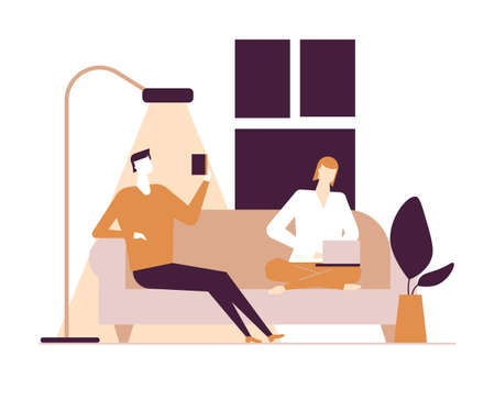 Couple at home - flat design style colorful illustration on white background. A composition with characters, wife, husband sitting on sofa. Woman at the laptop, man with smartphone in the living room Illustration