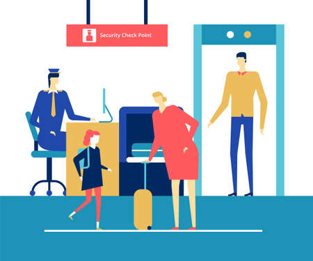 At the airport - flat design style colorful illustration. High quality composition with characters, man, woman, passengers family passing through security check point. Travel and tourism concept Ilustração