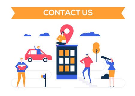 Contact us - flat design style colorful illustration on white background. Unusual composition with business people, office building with a map pointer showing the location, information about a company