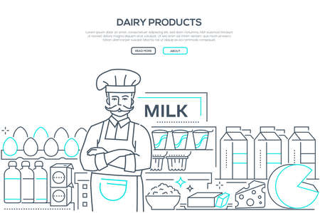 Dairy products - line design style web banner Illustration