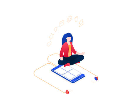 Meditation at work - modern colorful isometric vector illustration on white background. Composition with a woman in lotus position, smartphone with earphones. Mindfulness and multitasking concept