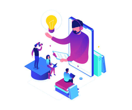 Online education - modern colorful isometric vector illustration on white background. Male, female students watching a video tutorial on smartphone, teacher in headset, images of books, academic cap