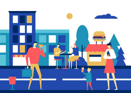 Fast food - flat design style colorful illustration. Unusual composition with male, female characters, adults and a child eating rolls, hotdogs on the move, sitting in a street cafe Ilustracja