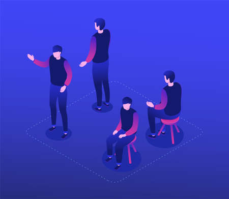 Man in casual clothes - modern isometric character set isolated on blue background. A collection with a male employee in different positions, sitting on a stool, standing front, back, raising a hand Ilustração