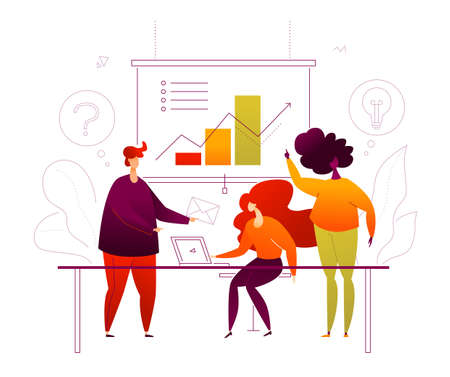 Business presentation - flat design style colorful illustration on white background. A composition with cute characters, male, female workers, team on the meeting, brainstorming, diagram on flip chart