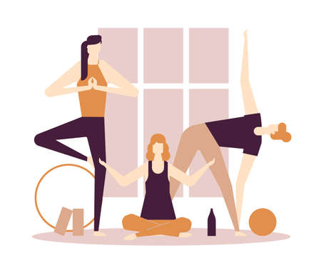 Yoga practice - flat design style colorful illustration on white background, brown palette. High quality composition with female characters, women in asanas, exercising in the gym, stretching