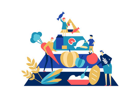 Food pyramid - flat design style colorful illustration. A composition with male, female characters, products in order of importance. Images of bread, vegetables, meat, dairy and sweets. Healthy eating