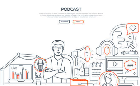 Podcast - modern line design style web banner on white background with copy space for text. Composition with young man, presenter on air in the studio, live streaming, images of globe, megaphone