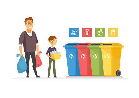 Concepto de reciclaje - ilustración de personajes de dibujos animados modernos personas. Composición colorida de alta calidad con padre e hijo sacando basura a contenedores de diferentes colores. Clasificación de residuos, concepto ecológico Ilustración de vector