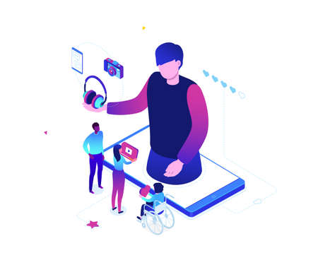 Blogging online - modern colorful isometric vector illustration on white background. Cute characters watching live stream on smartphone screen, male blogger broadcasting, reviewing new devices, camera