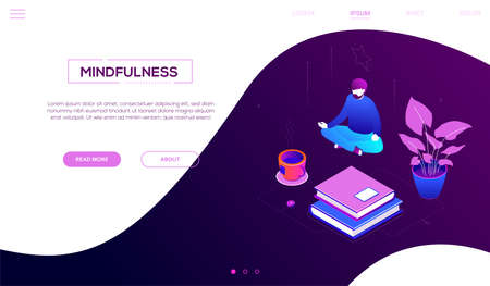 Meditation at work - modern colorful isometric vector web banner on purple background with copy space for text. Quality header with a man sitting in lotus position, trying to relief stress at work Illustration